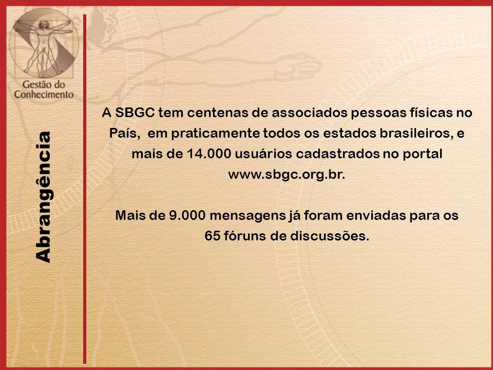 Abrangência A SBGC tem centenas de associados pessoas físicas no País, em praticamente todos os estados brasileiros, e mais de 14.000 usuários cadastrados no portal www.sbgc.org.br.