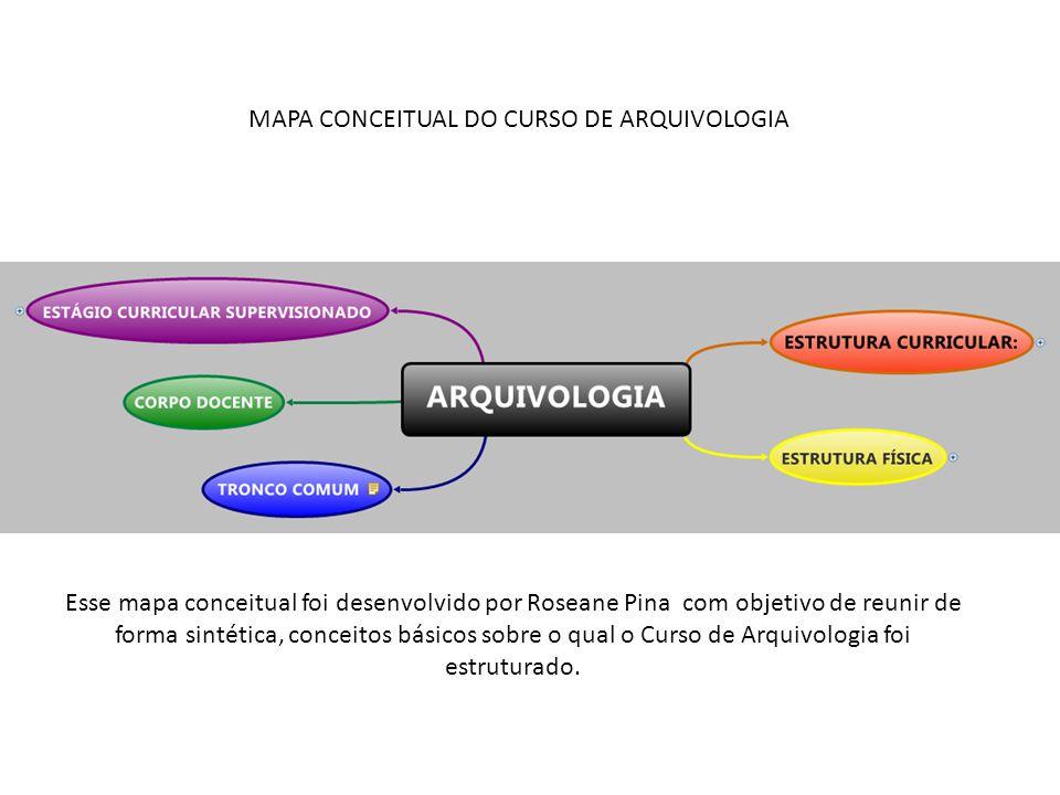 MAPA CONCEITUAL DO CURSO DE ARQUIVOLOGIA Esse mapa conceitual foi desenvolvido por Roseane Pina com objetivo de reunir de forma sintética, conceitos básicos sobre o qual o Curso de Arquivologia foi estruturado.