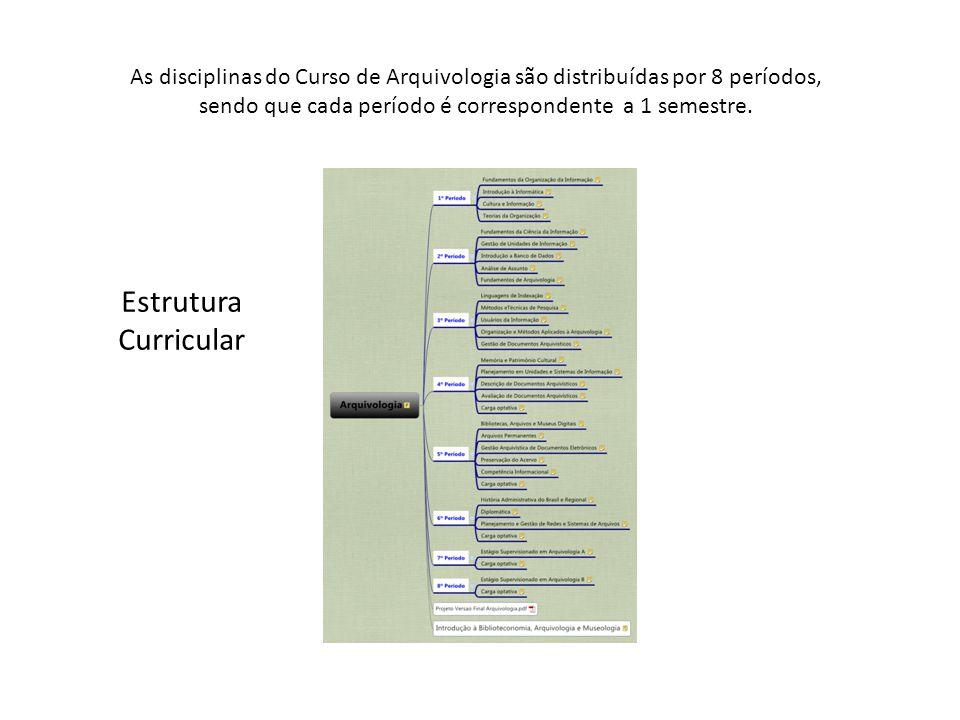 Estrutura Curricular As disciplinas do Curso de Arquivologia são distribuídas por 8 períodos, sendo que cada período é correspondente a 1 semestre.