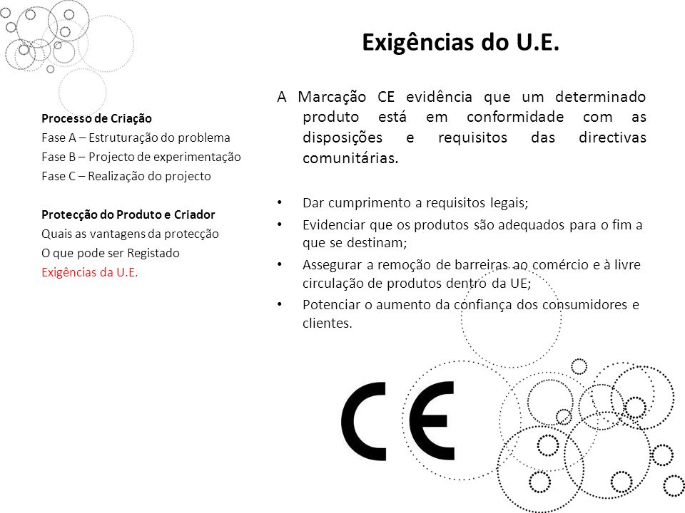 Exigências do U.E.