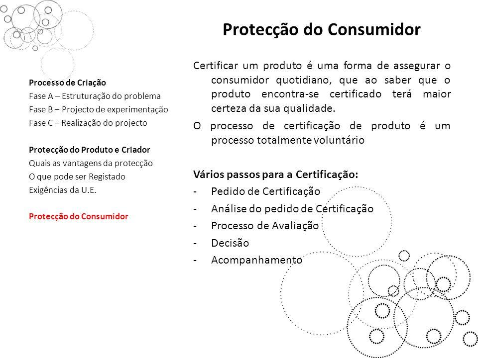 Protecção do Consumidor Certificar um produto é uma forma de assegurar o consumidor quotidiano, que ao saber que o produto encontra-se certificado terá maior certeza da sua qualidade.