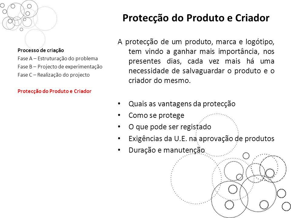 Protecção do Produto e Criador A protecção de um produto, marca e logótipo, tem vindo a ganhar mais importância, nos presentes dias, cada vez mais há uma necessidade de salvaguardar o produto e o criador do mesmo.