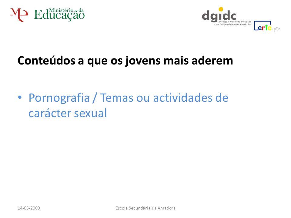 Conteúdos a que os jovens mais aderem Pornografia / Temas ou actividades de carácter sexual Escola Secundária da Amadora14-05-2009