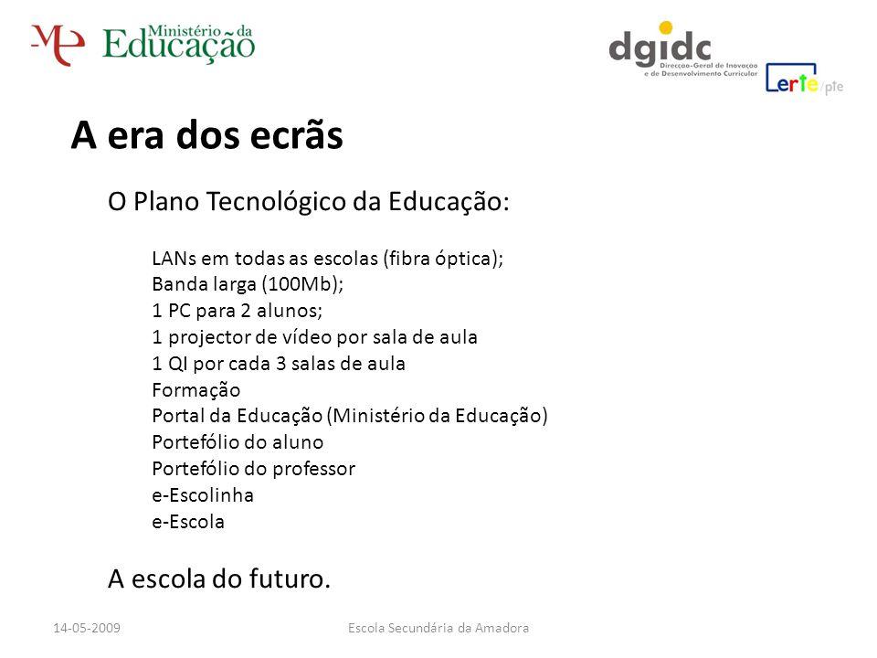 A era dos ecrãs O Plano Tecnológico da Educação: LANs em todas as escolas (fibra óptica); Banda larga (100Mb); 1 PC para 2 alunos; 1 projector de víde