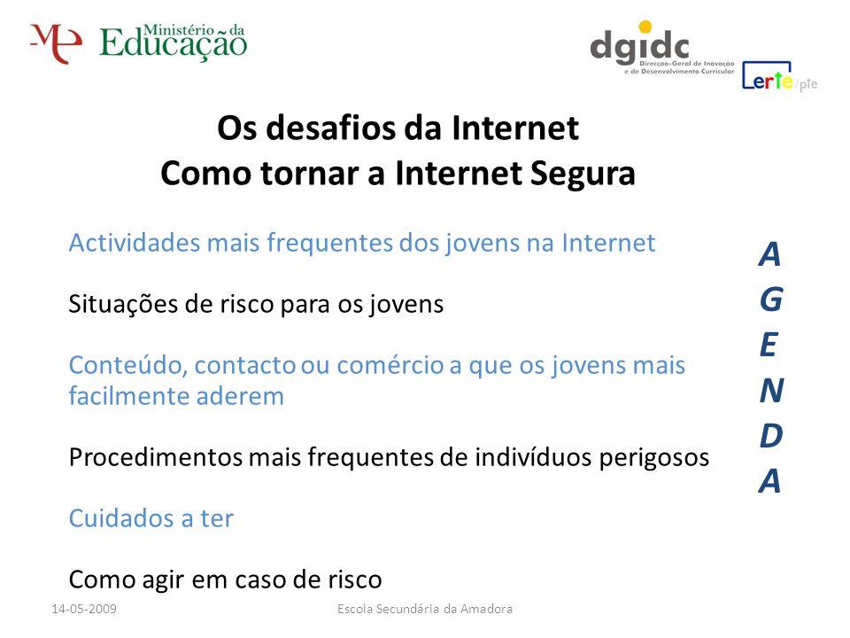 Actividades mais frequentes dos jovens na Internet Situações de risco para os jovens Conteúdo, contacto ou comércio a que os jovens mais facilmente ad