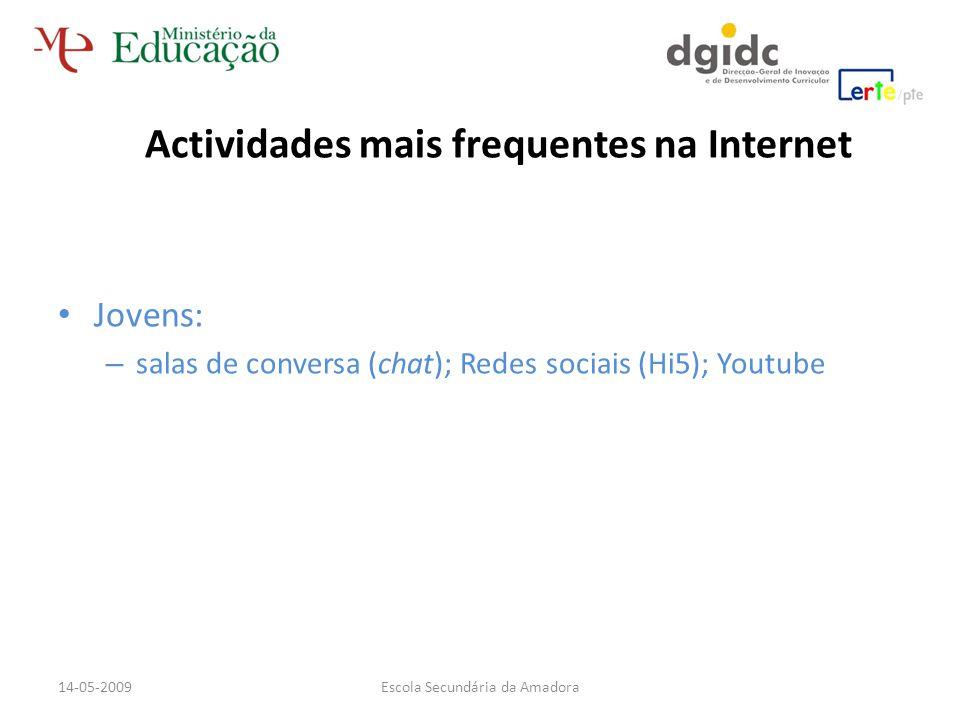 Jovens: – salas de conversa (chat); Redes sociais (Hi5); Youtube Actividades mais frequentes na Internet Escola Secundária da Amadora14-05-2009