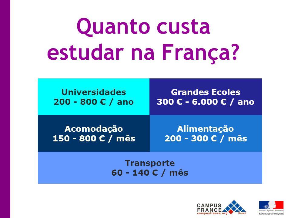 Alimentação 200 - 300 € / mês Universidades 200 - 800 € / ano Grandes Ecoles 300 € - 6.000 € / ano Acomodação 150 - 800 € / mês Transporte 60 - 140 € / mês Quanto custa estudar na França?