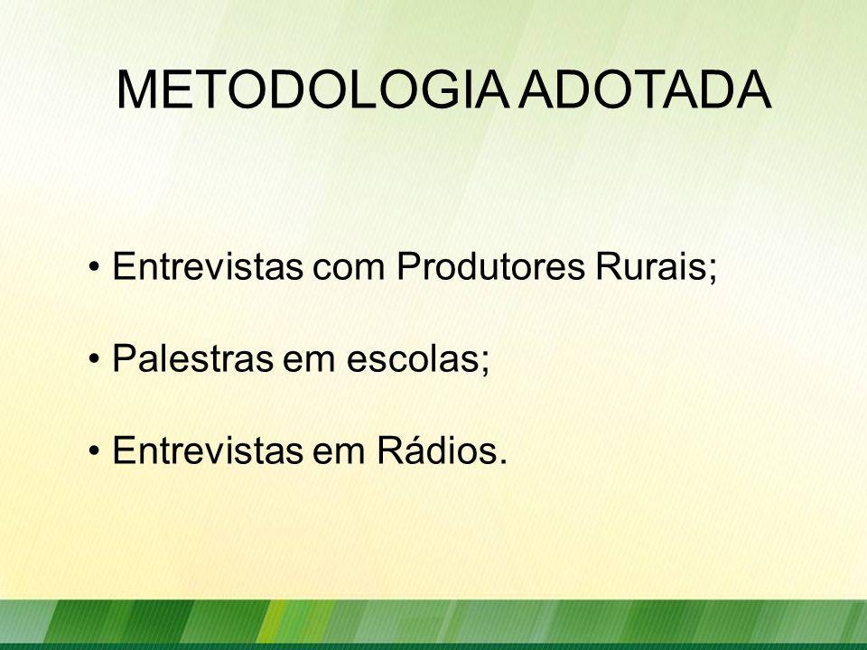 METODOLOGIA ADOTADA Entrevistas com Produtores Rurais; Palestras em escolas; Entrevistas em Rádios.