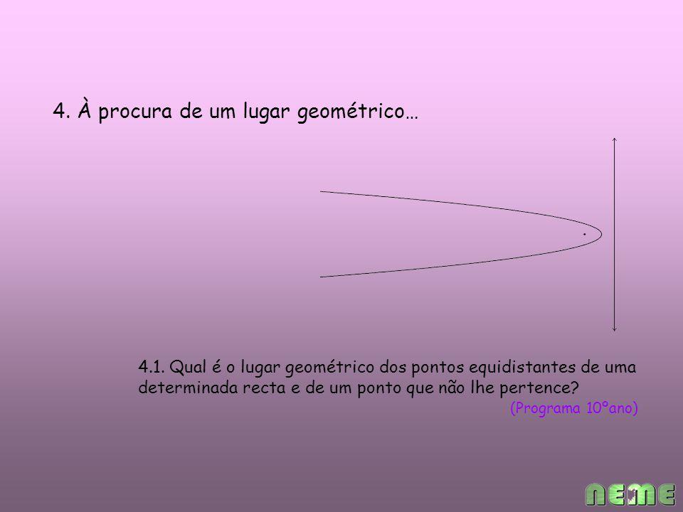 4. À procura de um lugar geométrico… 4.1.