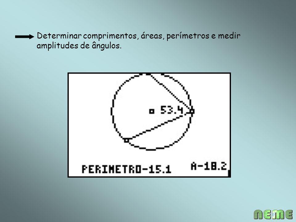 Determinar comprimentos, áreas, perímetros e medir amplitudes de ângulos.