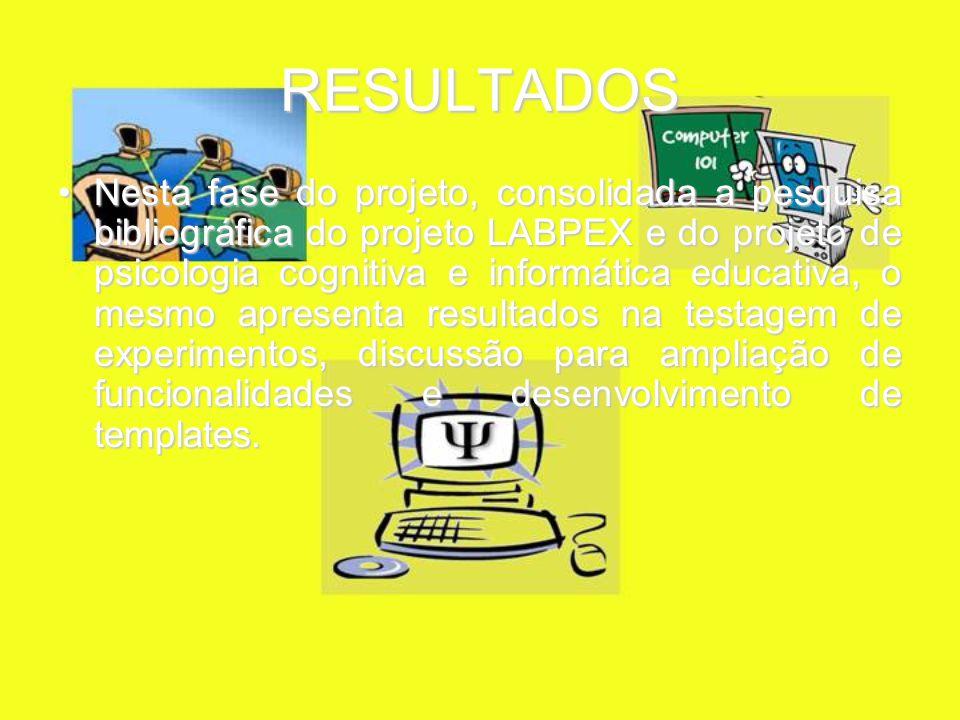 RESULTADOS Nesta fase do projeto, consolidada a pesquisa bibliográfica do projeto LABPEX e do projeto de psicologia cognitiva e informática educativa, o mesmo apresenta resultados na testagem de experimentos, discussão para ampliação de funcionalidades e desenvolvimento de templates.Nesta fase do projeto, consolidada a pesquisa bibliográfica do projeto LABPEX e do projeto de psicologia cognitiva e informática educativa, o mesmo apresenta resultados na testagem de experimentos, discussão para ampliação de funcionalidades e desenvolvimento de templates.