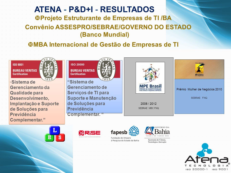 """ATENA - P&D+I - RESULTADOS """" Sistema de Gerenciamento da Qualidade para Desenvolvimento, Implantação e Suporte de Soluções para Previdência Complement"""