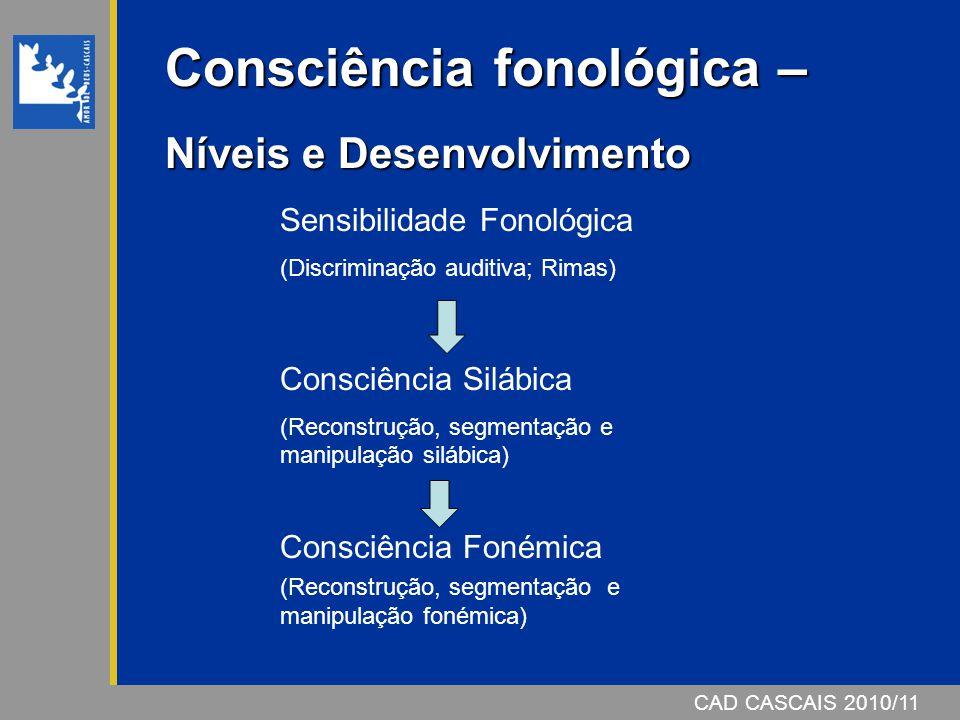 CAD CASCAIS 2006/07CAD CASCAIS 2010/11 Consciência fonológica – Níveis e Desenvolvimento Sensibilidade Fonológica (Discriminação auditiva; Rimas) Cons
