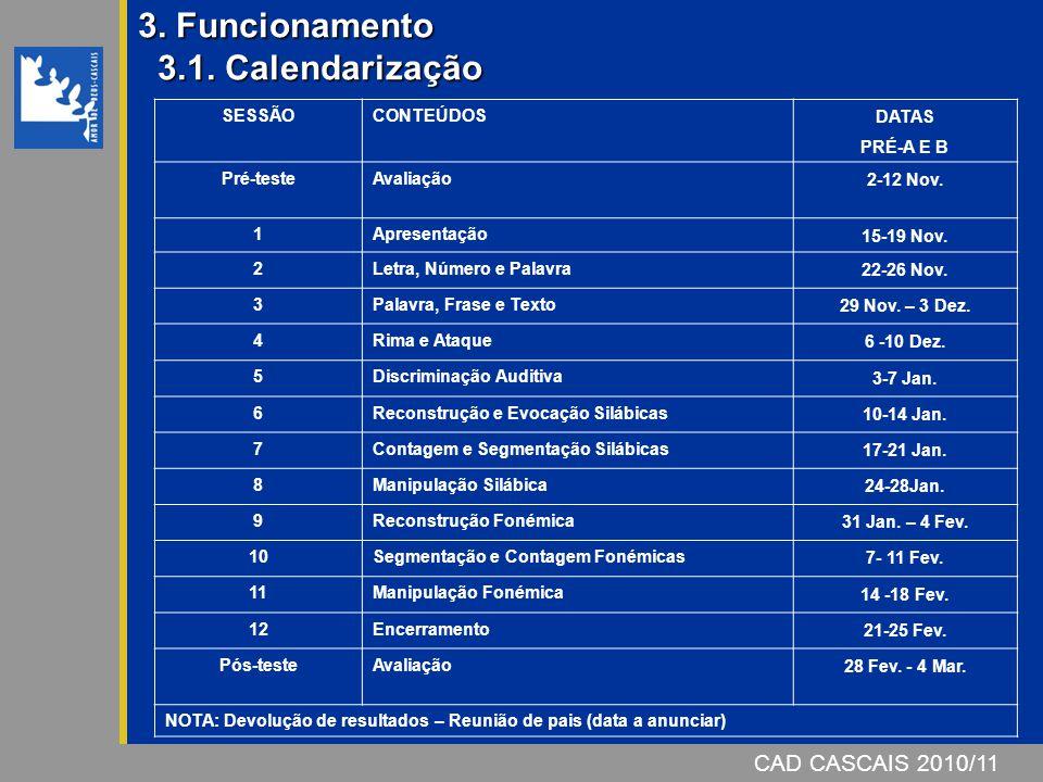 CAD CASCAIS 2006/07 3. Funcionamento 3.1. Calendarização SESSÃOCONTEÚDOS DATAS PRÉ-A E B Pré-testeAvaliação 2-12 Nov. 1Apresentação 15-19 Nov. 2Letra,