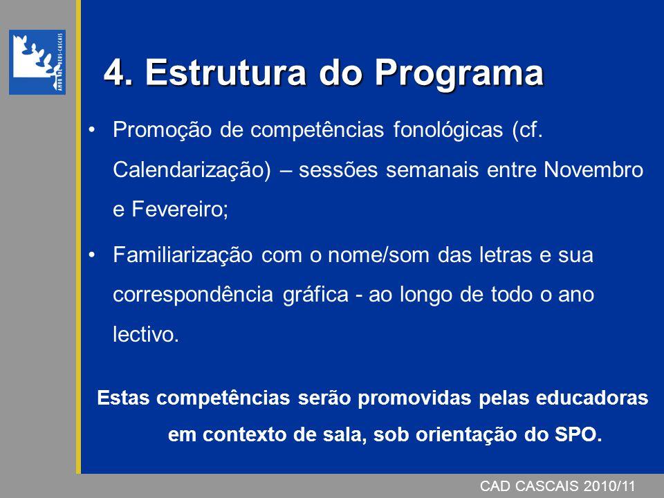 CAD CASCAIS 2006/07 4. Estrutura do Programa Promoção de competências fonológicas (cf. Calendarização) – sessões semanais entre Novembro e Fevereiro;