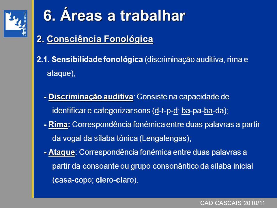 CAD CASCAIS 2006/07 6. Áreas a trabalhar CAD CASCAIS 2010/11 2. Consciência Fonológica 2.1. Sensibilidade fonológica (discriminação auditiva, rima e a