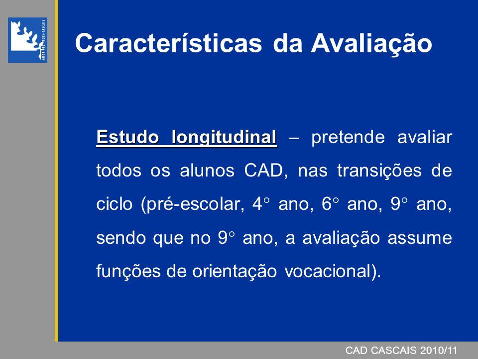 CAD CASCAIS 2006/07 Características da Avaliação Estudo longitudinal Estudo longitudinal – pretende avaliar todos os alunos CAD, nas transições de cic