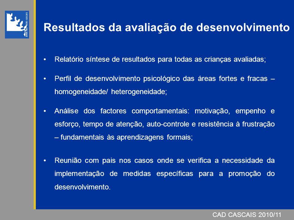 CAD CASCAIS 2006/07 Resultados da avaliação de desenvolvimento Relatório síntese de resultados para todas as crianças avaliadas; Perfil de desenvolvim