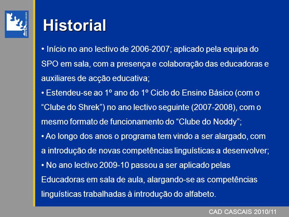 CAD CASCAIS 2006/07CAD CASCAIS 2010/11 Historial Início no ano lectivo de 2006-2007; aplicado pela equipa do SPO em sala, com a presença e colaboração