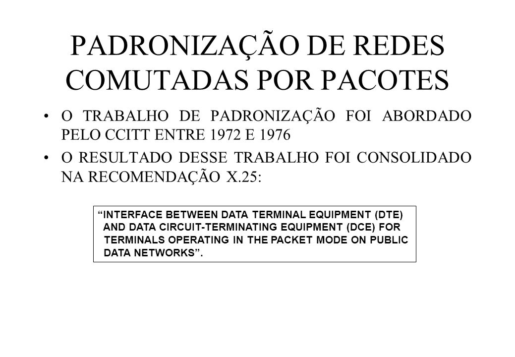 PADRONIZAÇÃO DE REDES COMUTADAS POR PACOTES O TRABALHO DE PADRONIZAÇÃO FOI ABORDADO PELO CCITT ENTRE 1972 E 1976 O RESULTADO DESSE TRABALHO FOI CONSOLIDADO NA RECOMENDAÇÃO X.25: INTERFACE BETWEEN DATA TERMINAL EQUIPMENT (DTE) AND DATA CIRCUIT-TERMINATING EQUIPMENT (DCE) FOR TERMINALS OPERATING IN THE PACKET MODE ON PUBLIC DATA NETWORKS .
