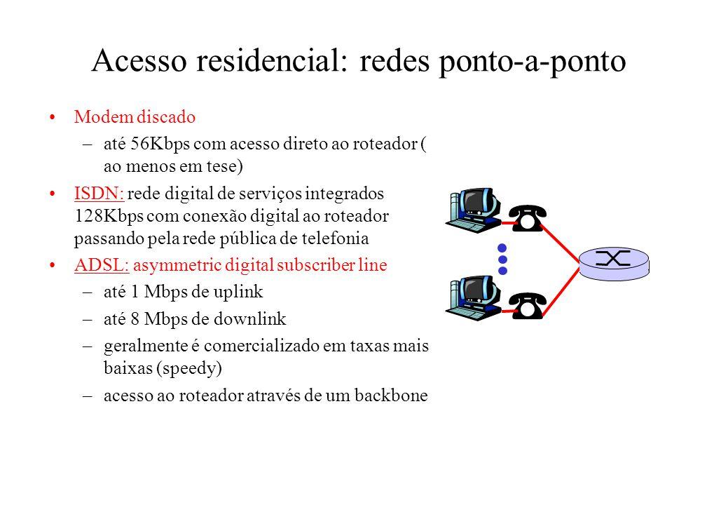 Acesso residencial: redes ponto-a-ponto Modem discado –até 56Kbps com acesso direto ao roteador ( ao menos em tese) ISDN: rede digital de serviços integrados 128Kbps com conexão digital ao roteador passando pela rede pública de telefonia ADSL: asymmetric digital subscriber line –até 1 Mbps de uplink –até 8 Mbps de downlink –geralmente é comercializado em taxas mais baixas (speedy) –acesso ao roteador através de um backbone