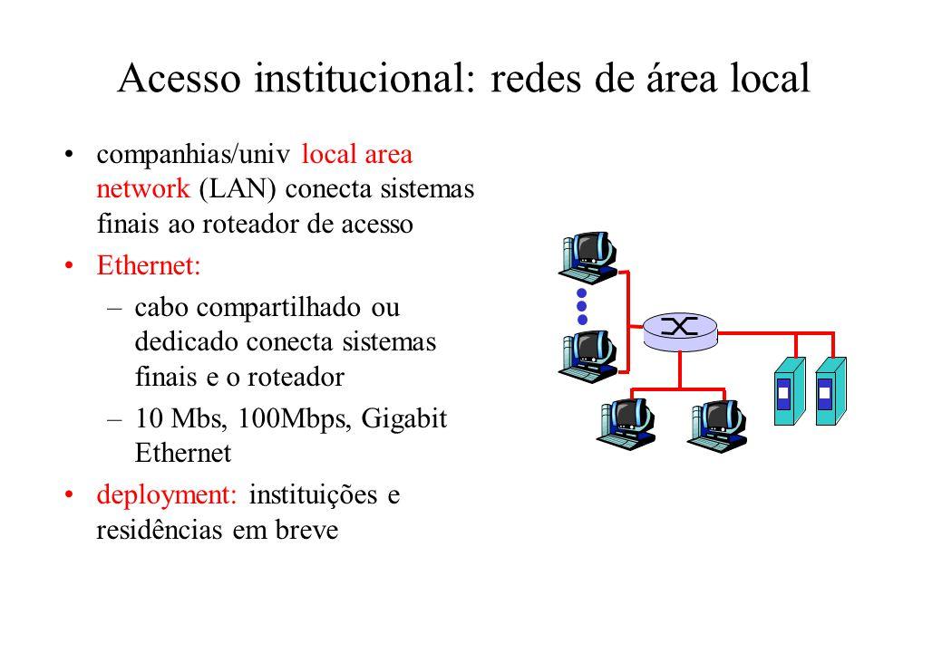 Acesso institucional: redes de área local companhias/univ local area network (LAN) conecta sistemas finais ao roteador de acesso Ethernet: –cabo compartilhado ou dedicado conecta sistemas finais e o roteador –10 Mbs, 100Mbps, Gigabit Ethernet deployment: instituições e residências em breve