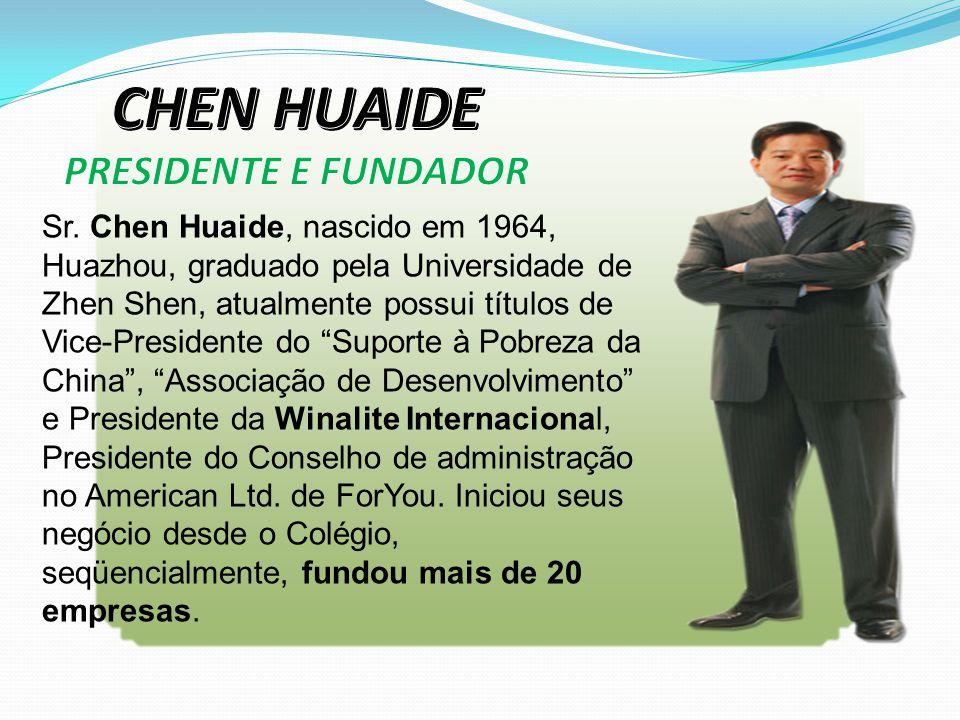 """Sr. Chen Huaide, nascido em 1964, Huazhou, graduado pela Universidade de Zhen Shen, atualmente possui títulos de Vice-Presidente do """"Suporte à Pobreza"""