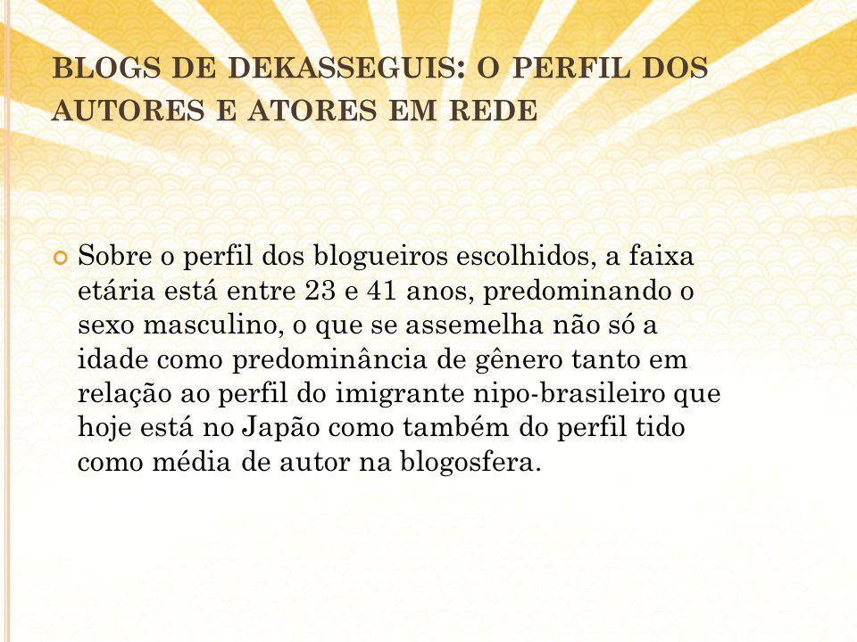 BLOGS DE DEKASSEGUIS : O PERFIL DOS AUTORES E ATORES EM REDE Sobre o perfil dos blogueiros escolhidos, a faixa etária está entre 23 e 41 anos, predominando o sexo masculino, o que se assemelha não só a idade como predominância de gênero tanto em relação ao perfil do imigrante nipo-brasileiro que hoje está no Japão como também do perfil tido como média de autor na blogosfera.