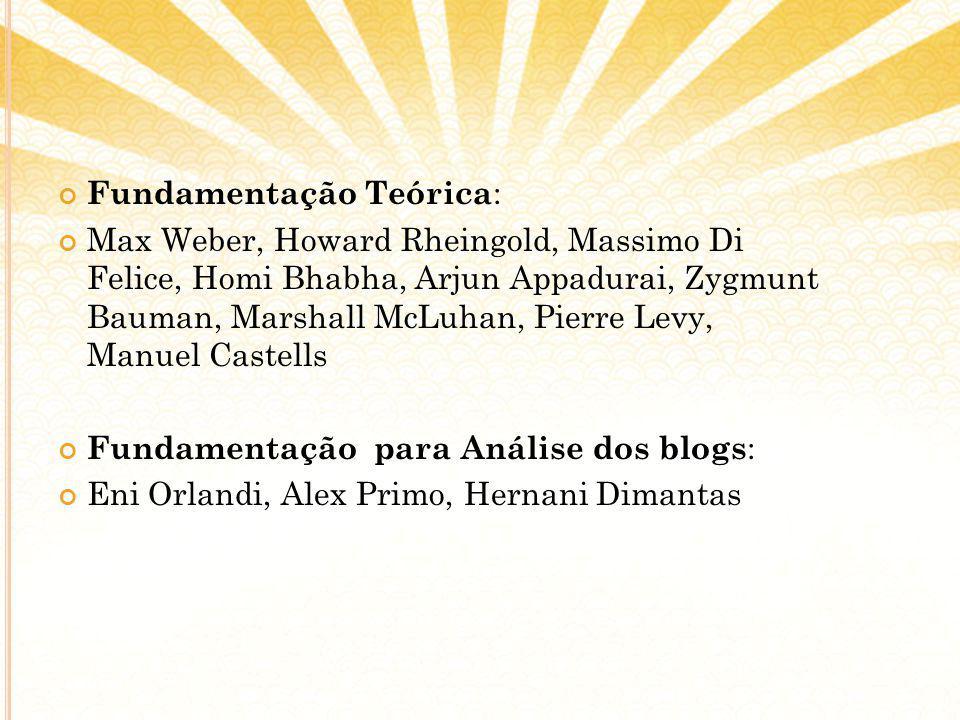 Fundamentação Teórica : Max Weber, Howard Rheingold, Massimo Di Felice, Homi Bhabha, Arjun Appadurai, Zygmunt Bauman, Marshall McLuhan, Pierre Levy, M