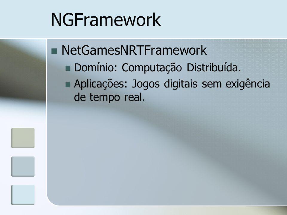 NGFramework NetGamesNRTFramework Domínio: Computação Distribuída. Aplicações: Jogos digitais sem exigência de tempo real.