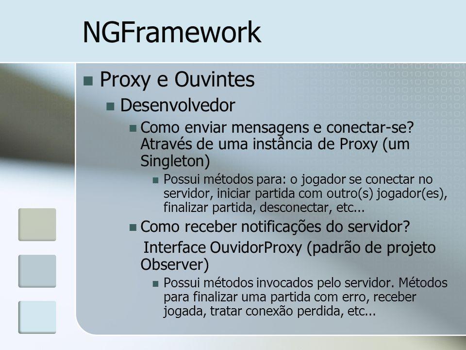 NGFramework Proxy e Ouvintes Desenvolvedor Como enviar mensagens e conectar-se? Através de uma instância de Proxy (um Singleton) Possui métodos para: