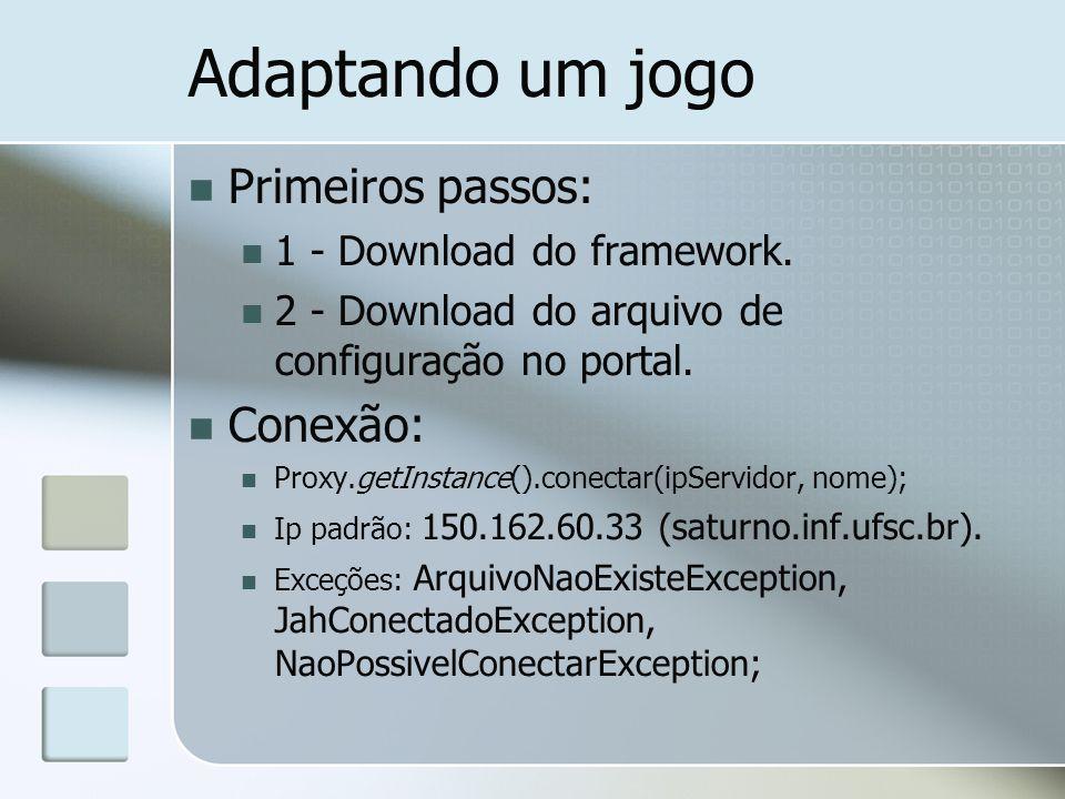Adaptando um jogo Primeiros passos: 1 - Download do framework. 2 - Download do arquivo de configuração no portal. Conexão: Proxy.getInstance().conecta