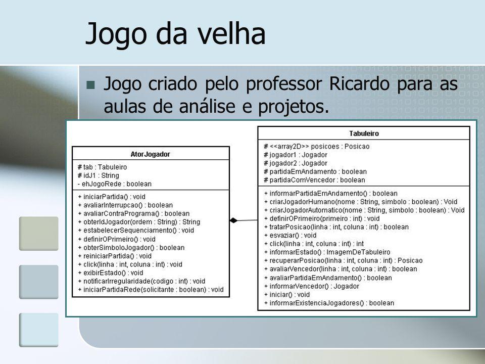 Jogo da velha Jogo criado pelo professor Ricardo para as aulas de análise e projetos.