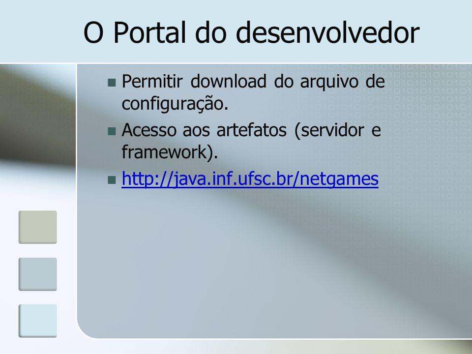 O Portal do desenvolvedor Permitir download do arquivo de configuração. Acesso aos artefatos (servidor e framework). http://java.inf.ufsc.br/netgames