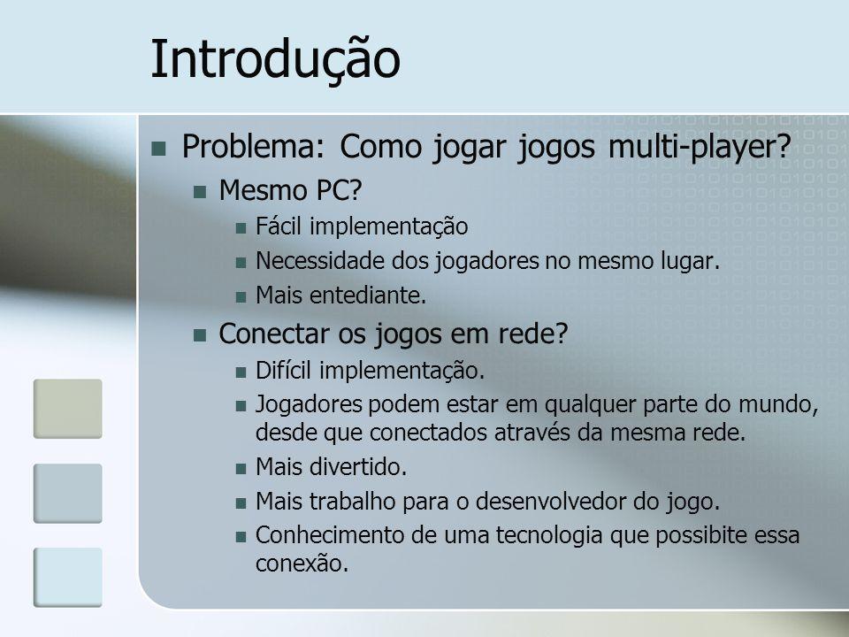 Introdução Problema: Como jogar jogos multi-player? Mesmo PC? Fácil implementação Necessidade dos jogadores no mesmo lugar. Mais entediante. Conectar