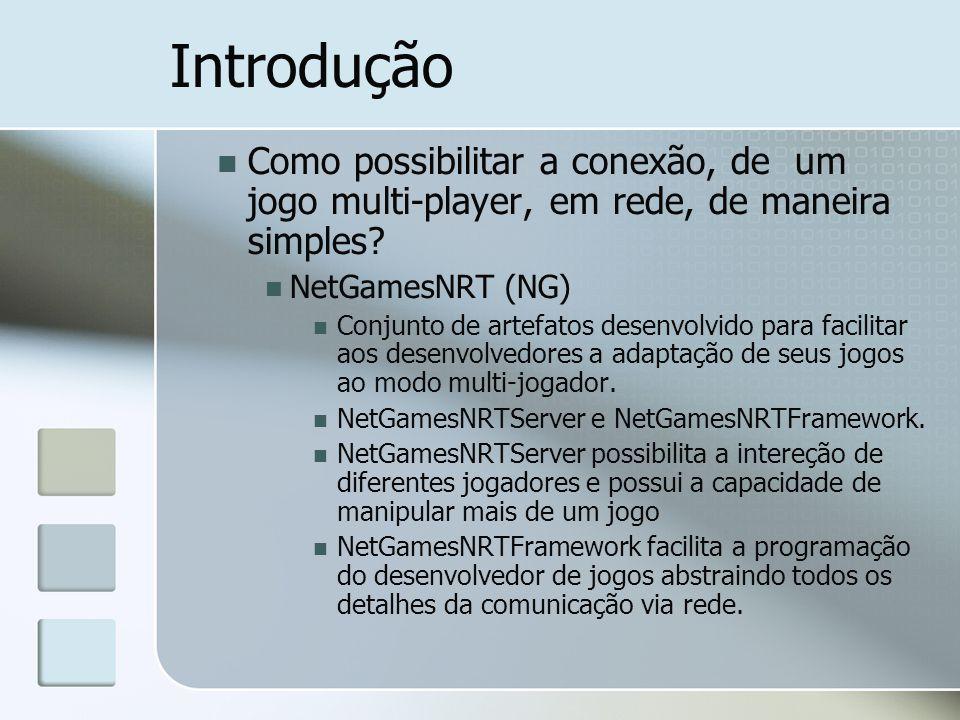 Introdução Como possibilitar a conexão, de um jogo multi-player, em rede, de maneira simples? NetGamesNRT (NG) Conjunto de artefatos desenvolvido para