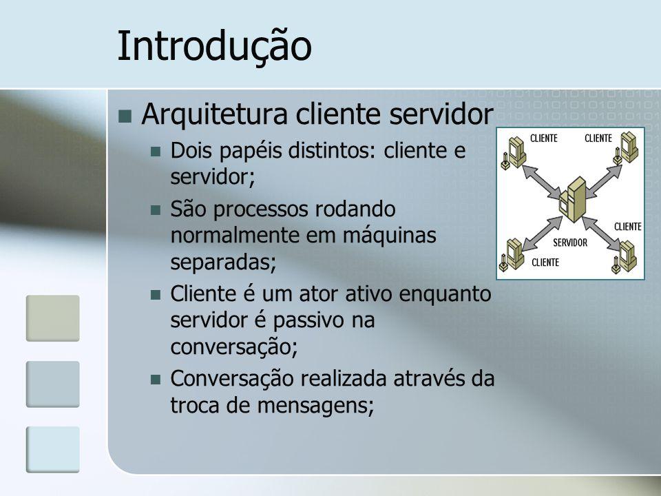 Arquitetura cliente servidor Dois papéis distintos: cliente e servidor; São processos rodando normalmente em máquinas separadas; Cliente é um ator ativo enquanto servidor é passivo na conversação; Conversação realizada através da troca de mensagens;