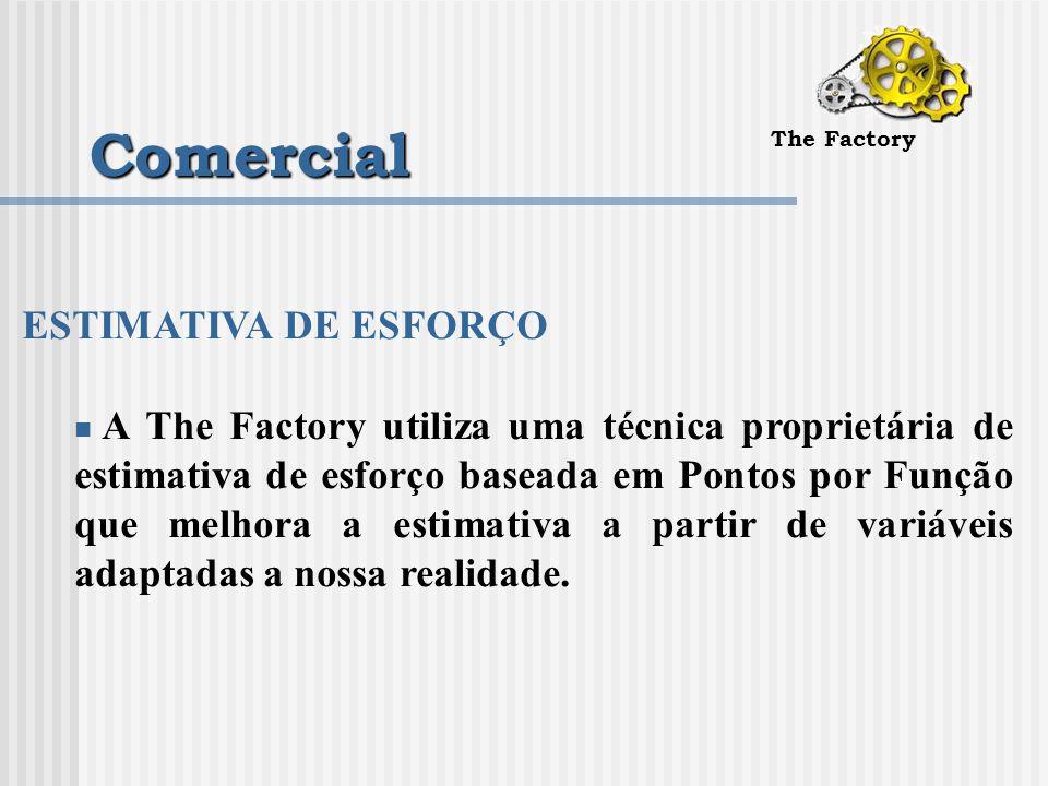 Comercial The Factory ESTIMATIVA DE ESFORÇO A The Factory utiliza uma técnica proprietária de estimativa de esforço baseada em Pontos por Função que melhora a estimativa a partir de variáveis adaptadas a nossa realidade.