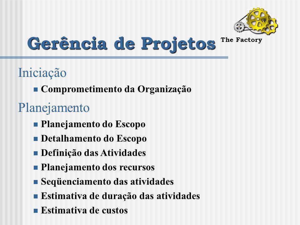 Gerência de Projetos The Factory Iniciação Comprometimento da Organização Planejamento Planejamento do Escopo Detalhamento do Escopo Definição das Atividades Planejamento dos recursos Seqüenciamento das atividades Estimativa de duração das atividades Estimativa de custos