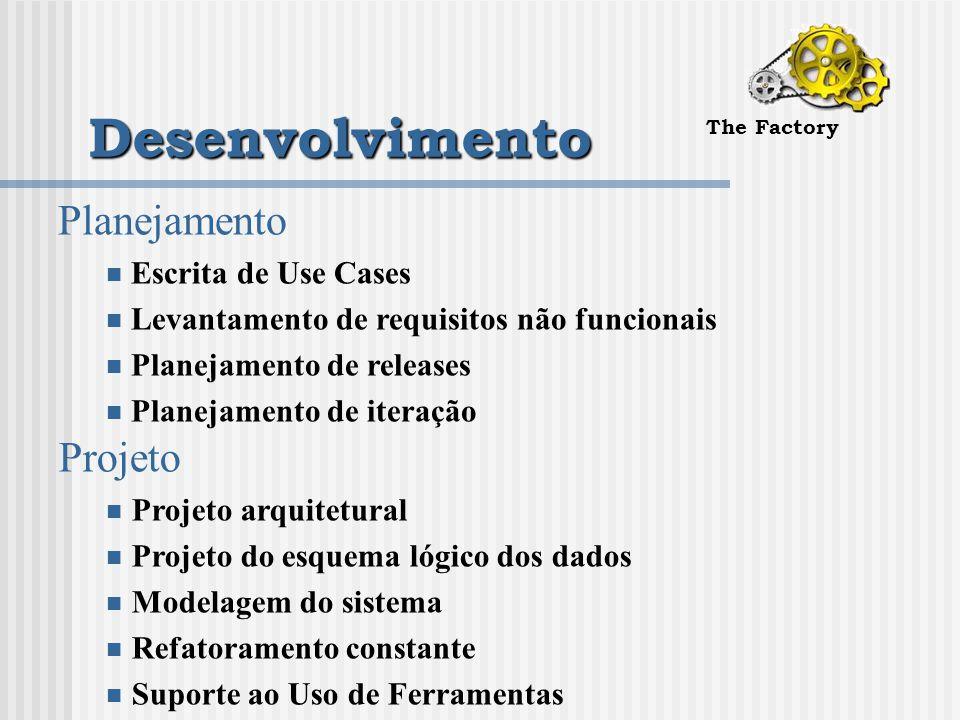 Desenvolvimento The Factory Planejamento Escrita de Use Cases Levantamento de requisitos não funcionais Planejamento de releases Planejamento de iteração Projeto Projeto arquitetural Projeto do esquema lógico dos dados Modelagem do sistema Refatoramento constante Suporte ao Uso de Ferramentas