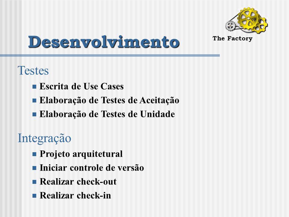 Desenvolvimento The Factory Testes Escrita de Use Cases Elaboração de Testes de Aceitação Elaboração de Testes de Unidade Integração Projeto arquitetural Iniciar controle de versão Realizar check-out Realizar check-in