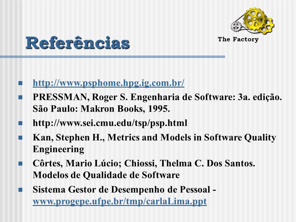 Referências The Factory http://www.psphome.hpg.ig.com.br/ PRESSMAN, Roger S.