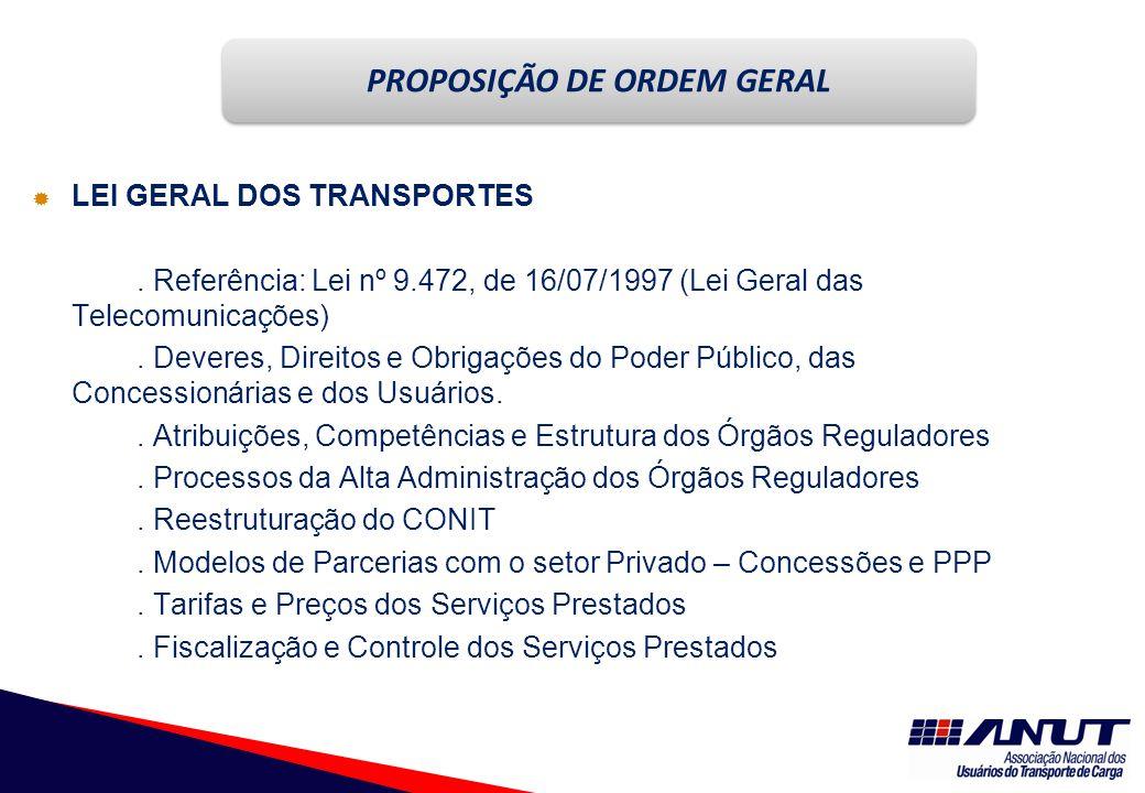 NECESSIDADES  LEI GERAL DOS TRANSPORTES.