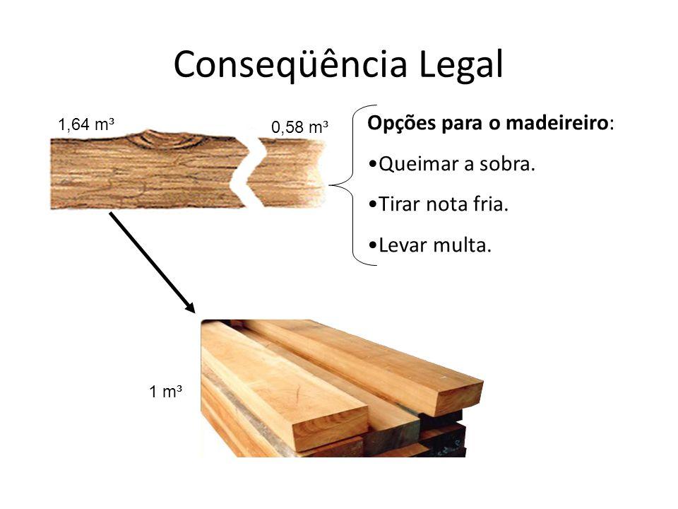 Conseqüência Legal 1,64 m³ 1 m³ 0,58 m³ Opções para o madeireiro: Queimar a sobra. Tirar nota fria. Levar multa.