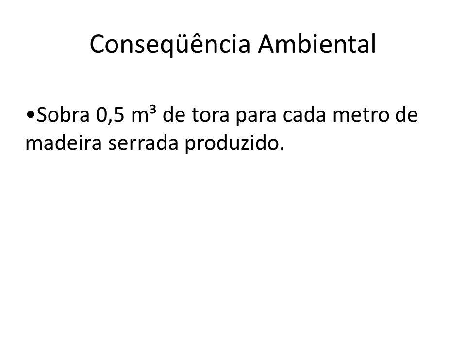 Conseqüência Ambiental Sobra 0,5 m³ de tora para cada metro de madeira serrada produzido.