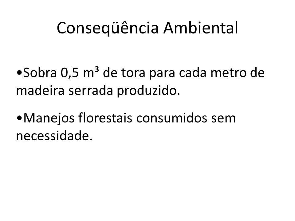 Conseqüência Ambiental Sobra 0,5 m³ de tora para cada metro de madeira serrada produzido. Manejos florestais consumidos sem necessidade.