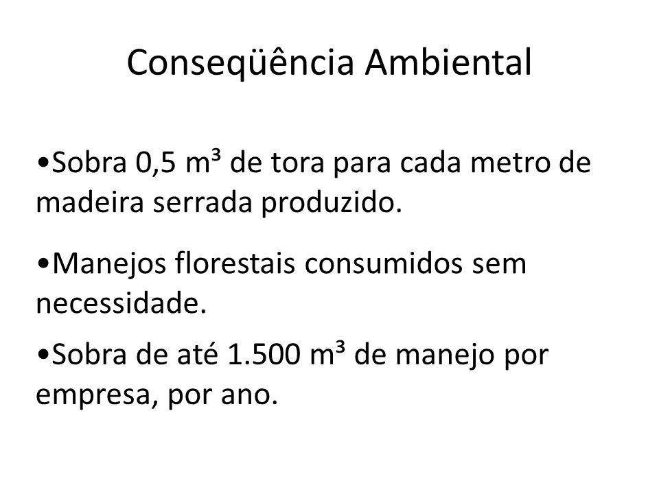 Conseqüência Ambiental Sobra 0,5 m³ de tora para cada metro de madeira serrada produzido. Manejos florestais consumidos sem necessidade. Sobra de até