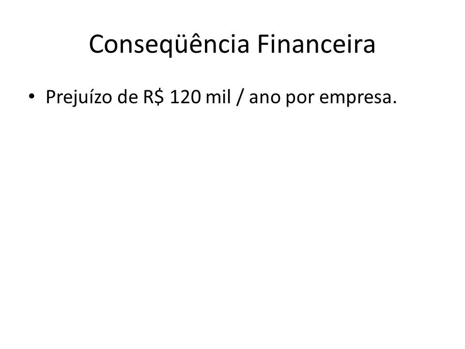 Conseqüência Financeira Prejuízo de R$ 120 mil / ano por empresa.