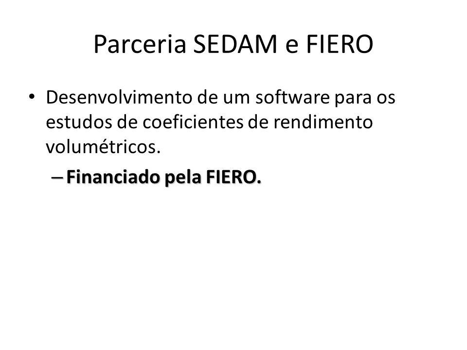 Parceria SEDAM e FIERO Desenvolvimento de um software para os estudos de coeficientes de rendimento volumétricos. – Financiado pela FIERO.