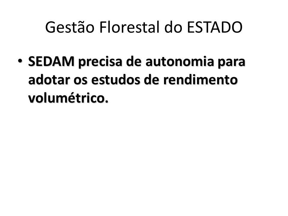 Gestão Florestal do ESTADO SEDAM precisa de autonomia para adotar os estudos de rendimento volumétrico. SEDAM precisa de autonomia para adotar os estu